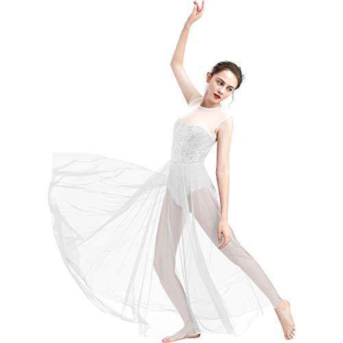 FYMNSI Damen Lyrisch Tanz Kleid Ärmellos Pailletten Schlitz Tüll Maxikleid Lyrische Modern Contemporary Tanzkostüm Trikot Latein Ballett Tüllkleider Ballettanzug Weiß XL