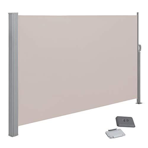 SONGMICS Seitenmarkise, 180 x 350 cm (H x L), Sichtschutz, Sonnenschutz, Seitenrollo, für Balkon, Terrasse, Garten, Taupe GSA185T02