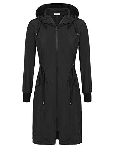 ELESOL Long Rain Jacket Women Lightweight Rain Coat Hooded Running Jackets Zipper Waterproof Windbreaker S-XXXL
