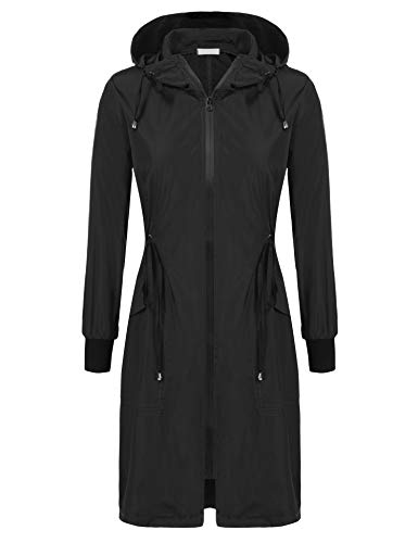 ELESOL Women Waterproof Lightweight Zip Hoodie Raincoat Active Jacket Black L