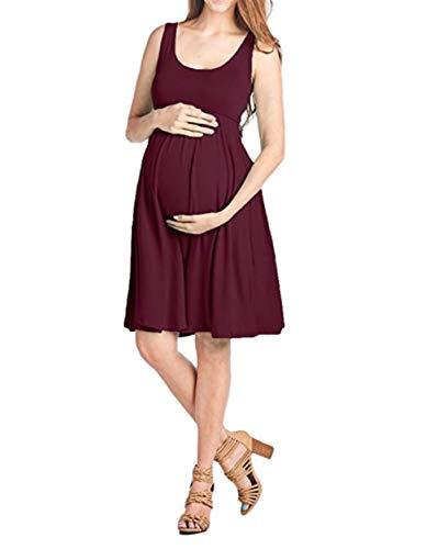 FEIFUSHIDIAN Capuche Femme Gilet Slim Col Rond Robe Femmes Enceintes Mis sur Une Grande Étendue Bloquer Pull-up ( Color : Jujube Red , Size : M )