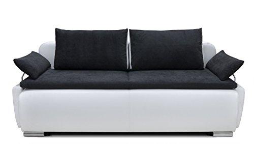 Collection AB 150397 Lucas Boxspring-/Schlafsofa, 105 x 224 x 97 cm, Materialmix PU Kunstleder weiß mit weichen Strukturstoff schwarz