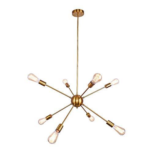 ENCOFT Sputnik Kronleuchter Modern Pendelleuchte Hängelampe E27 Lampenfassung Metall für Esszimmer Zimmer Wohnzimmer Küche Restaurant (Brass, 8 Lampe)