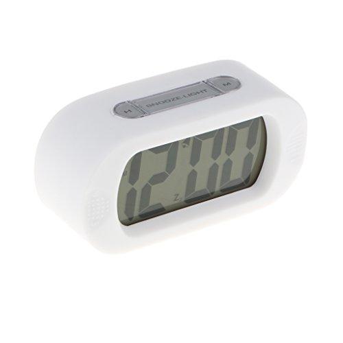 1 pieza de Alarma Reloj Despertador LCD de Silicona Digital Impermeable con Luz cerca de Mesa - blanco