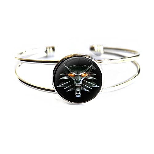 Brazalete de lobo, brazalete de lobo, joyería de lobo, pulsera de la naturaleza, arte del lobo, pulsera de cúpula de cristal, PU309