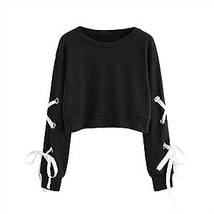 New Women Long Sleeve Crop Top Pullover Hooded Sweatshirt Cropped Hoodie LC