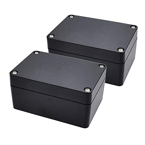 Pinfox 2 Pack Black Waterproof Plastic Project Box ABS IP65 Electronic Junction box Enclosure 3.94 x 2.68 x 1.97 inch (100 x 68 x 50 mm)