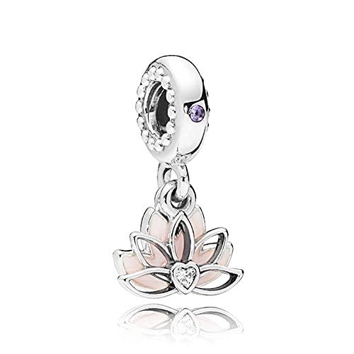 ZHANGCHEN 925 Sterling Silver Bead Serene Lotus Flower Pendant Charm Fit Fashion Women Pan Bracelet Bangle Gift DIY Jewelry