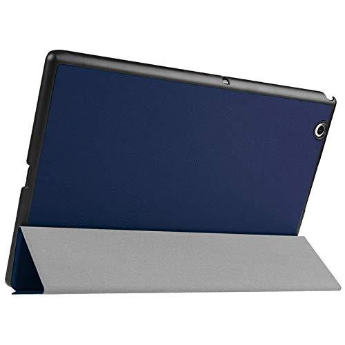 Funda Protectora para Tablet Funda de Cuero en Color Liso con Tapa Horizontal de Textura de Karst con Soporte de 3 Plegables para Sony Xperia Z4 (Color : Dark Blue)