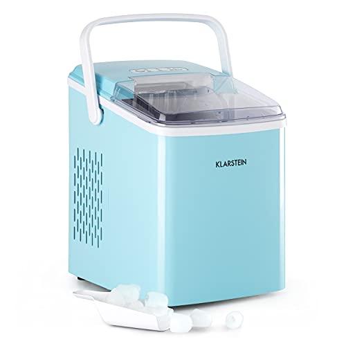 Klarstein Arctic Porter - Máquina de hielo, Hasta 12kg/24h, 2 tamaños, Potencia 120 W, Tiempo producción 8 min, 9 cubitos por ciclo, Depósito 2 L, Pantalla LCD, Control táctil, Programable, Az