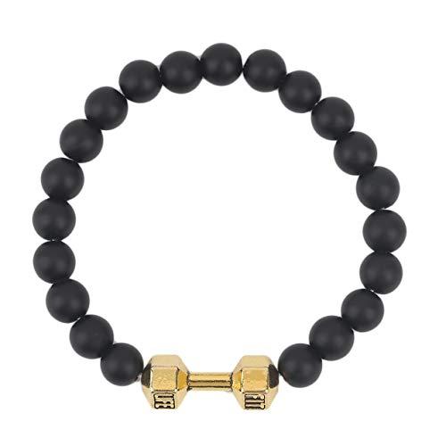 BIYI Schwarz Matt Stein Perlen Armband Armreif Neue Ankunft Legierung Metall Barbell Schmuck Fitness Fashion Fit Leben Hantel Einstellbare Armband (gold) (gold)