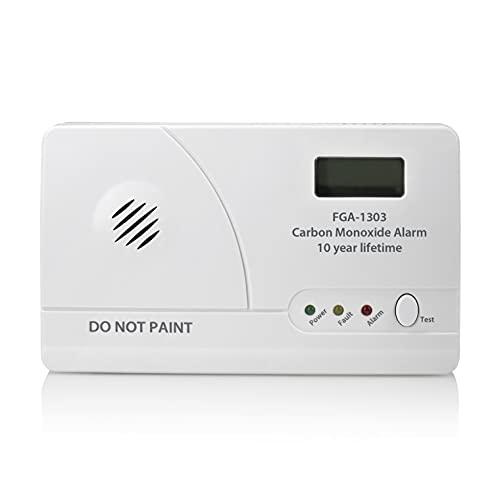 Smartwares FGA-13031 Kohlenmonoxidmelder, 10 Jahre Nutzungsdauer, 85 dB lauter Alarmton, Batterieanzeige und Testknopf