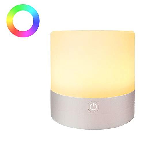 SUKEKE Nachtlicht, Touch-Lampe für Schlafzimmer Wohnzimmer Tragbarer Tisch Nachttischlampen Wiederaufladbares warmweißes Licht und Farbwechsel RGB