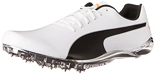PUMA mens Evospeed Electric 10 Track and Field Shoe, Puma White-puma Black-lava Blast, 7.5 US