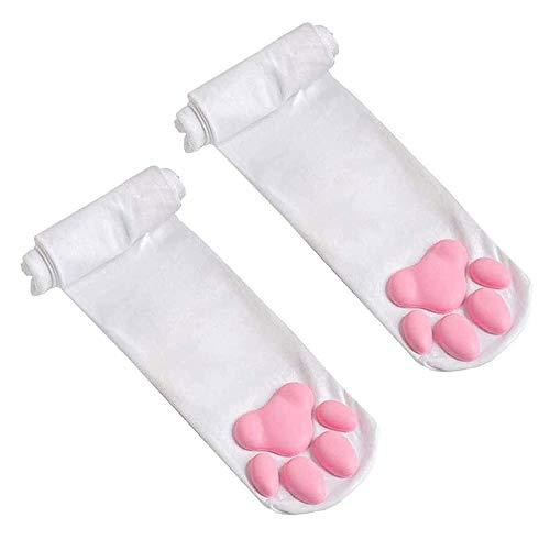 2 pares de calcetines de pata de gato rosa para niñas, calcetines altos de terciopelo elástico Lolita calcetines sobre la rodilla con cojín de silicona 3D para mujer (color: blanco 2)