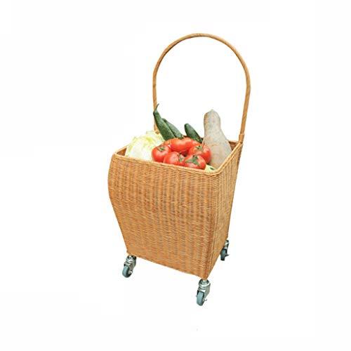 Liangzishop Einkaufskorb 4 Wheel Weaving Warenkorb Warenkorb Tragbarer Einkaufswagen Bambus und Rattan Weben Trolley Korb zum Einkaufen/Marktkorb (Color : A)