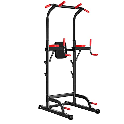 """Power Tower Dip Station, Pull Up Bar Station & Multi-Function Gym Equipment For Home Strength Training Adujustable Height Up to 85.5"""",Load 350LBS"""
