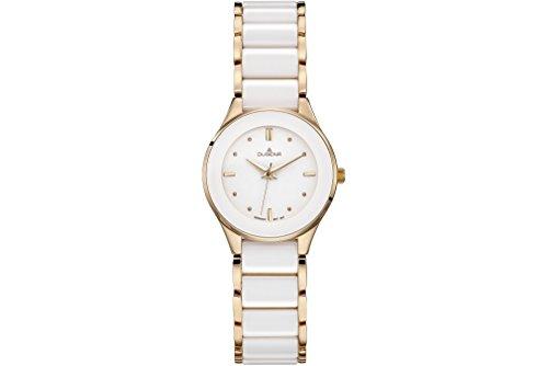 Dugena Damen Armbanduhr Amica Ceramica Keramik 29mm weiß/roségold