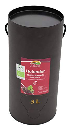 Bleichhof Bio Holundersaft - 100% Direktsaft, vegan, OHNE Zuckerzusatz, Bag-in-Box mit Zapfsystem (1x 3l Saftbox)