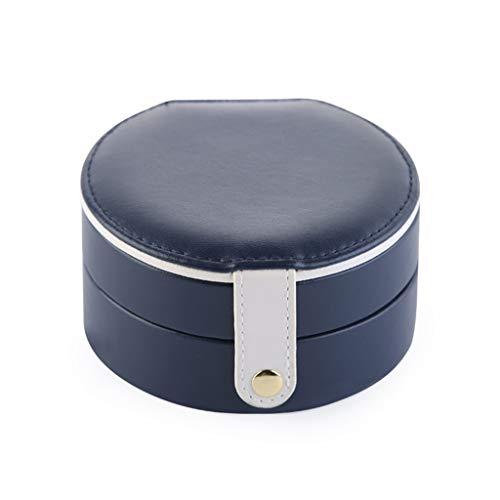 ASYKFJ Caja de almacenaje Joyero de Cuero Moderna Simple de Pendientes Manual pequeña joyería Caja de Almacenamiento Tocador de baño encimera contenedor de Almacenamiento (Size : Navy Blue)