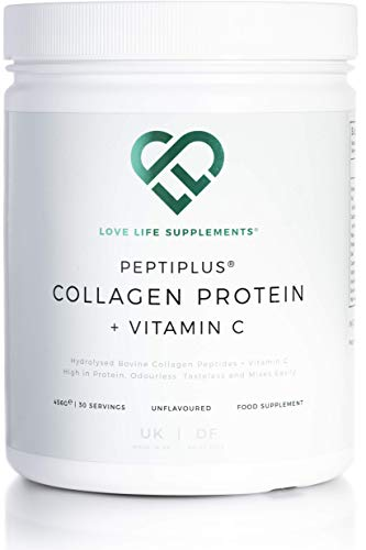 PEPTIPLUS Collagen Protein + Vitamin C by LLS   Hydrolysed Bovine Collagen Plus Vitamin C for Enhanced Collagen Production   Gluten/Dairy Free   456g / 30 Servings   Unflavoured   UK Made