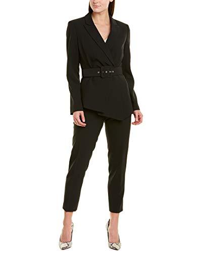 Tahari ASL Women's Belted Asymmetric Pebble Crepe Pant Suit, Black, 2