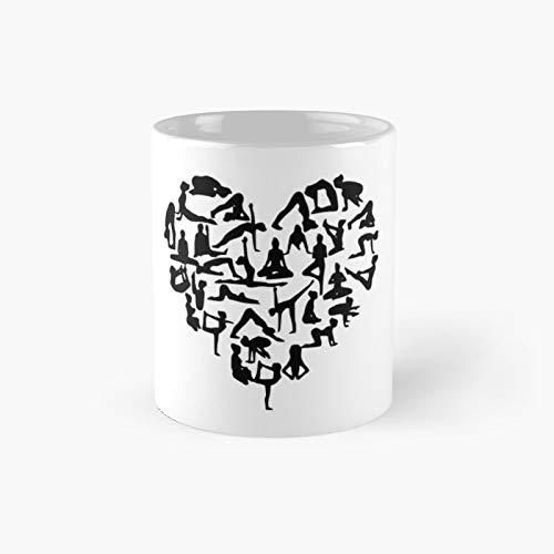 Taza clásica con forma de corazón de yoga   El mejor regalo divertidas tazas de café de 325 ml