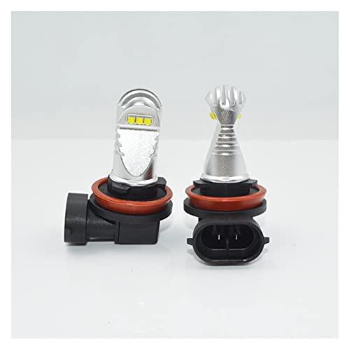 led para Autos 2 unids H11 LED Luces de Niebla Super Bright Car DRL Luz de Funcionamiento de la luz de la luz de la luz de la luz de la luz 6000K White 12V-24V led para Coches (Socket Type : H11)