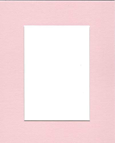 Pack of (5) 11x14 Acid Free White Core Picture Mats Cut for 8x10 Pictures in Pink