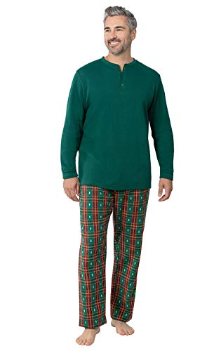 PajamaGram Flannel Pajamas for Men - Men Christmas Pajamas, Tree Plaid, Large