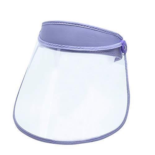 FEOYA Protector Facial Unisex de Cara Completa Ajustable Anti-escupir Mujeres Púrpura Transparente Flip Up Visor de Cara Completa Sombrero para el Sol A Prueba de Viento Taller Limpieza
