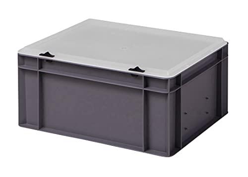 Design Eurobox Stapelbox Lagerbehälter Kunststoffbox in 5 Farben und 16 Größen mit transparentem Deckel (matt) (grau, 40x30x18 cm)