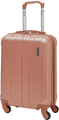 Amazon Brand: EONO Essentials Lightweight 21' ABS Hard Shell Travel Trolley Carry On Hand Cabin Luggage Suitcase with 4 Wheels (Rose Gold, 21' Cabin)