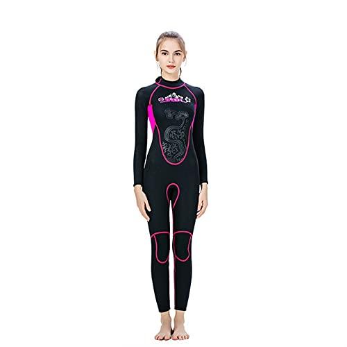 Moda Mujeres Traje de 3 mm UV Protección de buceo Ultra Stretch con Zip y guías de manga larga termal, para Surf Rafting Snorkeling JXLBB (Color : Black, Size : M)