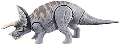 Jurassic World Dual Attack Triceratops Dinosaurs in Medium Size with Button-Activated Dual Strike Action Moves Like Tail & Head Strikes by Mattel