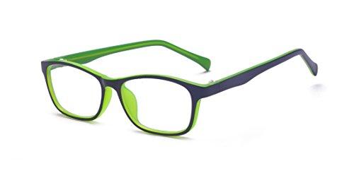 ALWAYSUV Blaulicht-Schutzbrille, transparente UV400-Linse, Computer-Lesebrille, Anti-Überanstrengung der Augen/Anti-Kratzer/Anti-Schmutz, Schlaf besser für Jungen, Mädchen, Grün