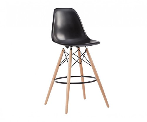 Oui Home - Taburete Tower Wood Negro Patas Madera