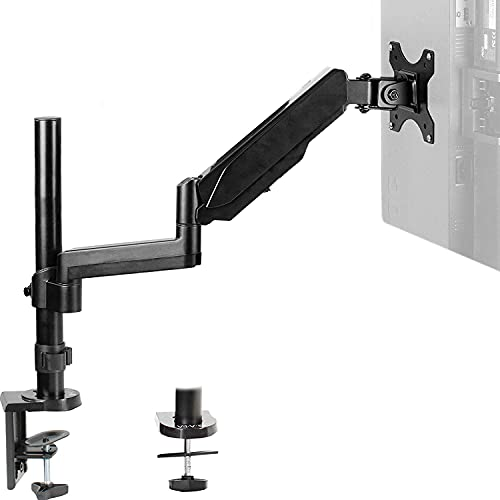 VIVO Single Monitor Arm Mount for 17 to 32 inch Screens - Pneumatic Height Adjustment, Full Articulating Tilt, Swivel, Heavy Duty VESA Stand with Desk C-clamp and Grommet Option STAND-V001K