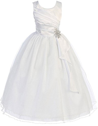First Communion Flower Girls Dress Satin Surplice Top Double Layer Big Girl White 10 CB.303