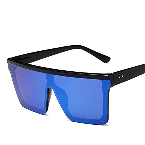 WOJING Gafas de Sol de Lujo para Mujer, Gafas de Sol Transparentes de Gran tamaño para Hombre, Gafas de Sol con Tapa Plana y Vintage UV400