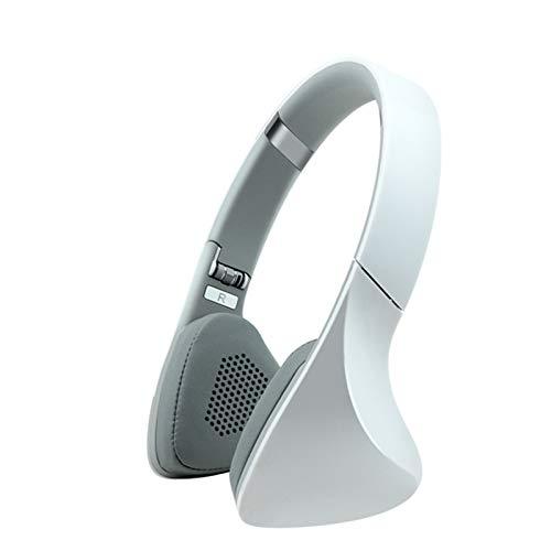 DPDM Auriculares deportivos Bluetooth sobre la oreja, plegables inalámbricos y con cable estéreo con reducción de ruido para el hogar, oficina, en línea, teléfono móvil, PC, TV, color blanco