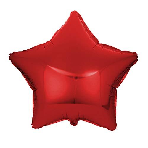 Folienballon Stern 45 cm Luftballon Hochzeit Helium Ballon 18 Zoll Heliumballon Star Sternenballon XL Geburtsatag Party Deko Dekoration bunt JGA Folie Sterne (rot)