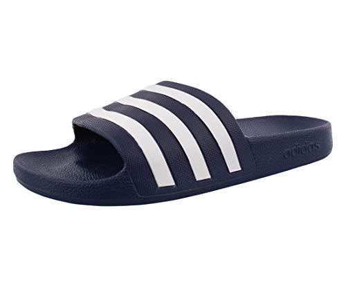 adidas Adilette Aqua Slide Sandalia, Azul oscuro/Blanco/Azul oscuro, 7 Women/7 Men
