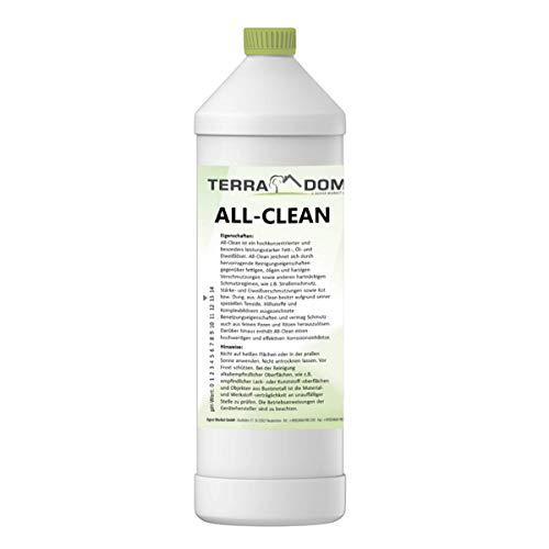 TerraDomi All-Clean, 1 L, Reinigungsmittel für hartnäckige Verschmutzungen, wirksamer Power-Reiniger für Terrasse, Dach, Haus, Hof & Garten