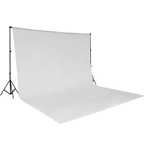 TecTake Teleskop Fotostudio Komplettset Hintergrundsystem inkl. Hintergrund 6x3 m + Tasche - Diverse Farben - (Weiß | Nr. 400780)