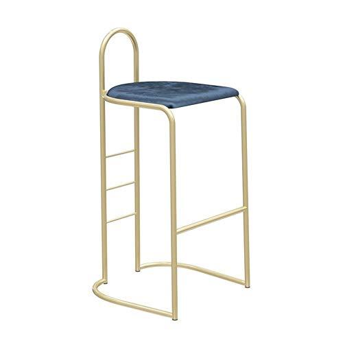 Bar en métal Tabouret avec Flanelle siège, bar Chaise de cuisine Petit-déjeuner café restaurant avec dossier haut tabouret, Jambes d'or (Color : Royal blue, Size : 65cm)