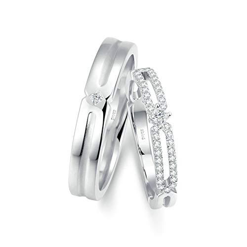 Bishilin Anillo de Compromiso de 2 Piezas para Ella 18K Oro Blanco Mujer Talla 8 & Hombre Talla 28 Bambú Hueco Blanco Cuadrada Diamante Anillos de Bandas de Boda para Socios Plata