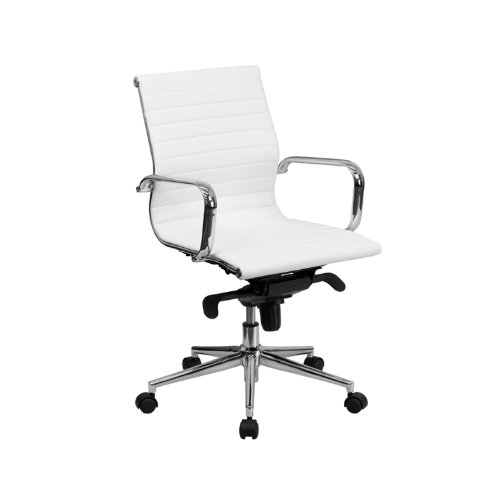 Mid-Back White Ribbed Upholstered Leather Conference Chair [BT-9826M-WH-GG] Computer, Electronics