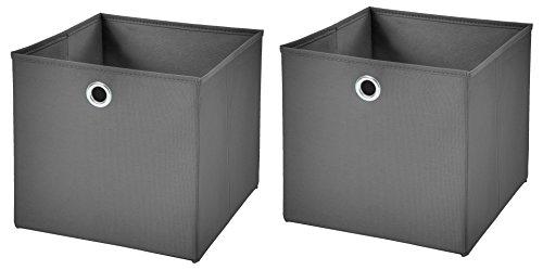 StickandShine 2er Set Dunkelgrau Faltbox 32 x 32 x 32 cm Aufbewahrungsbox faltbar