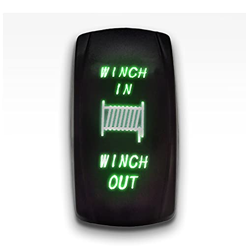 Winch in Winch Out - Green - STARK 7-PIN Momentary Winch in Out Rocker Toggle Switch Waterproof Black Shell/ON-Off-ON DPDT Illuminated Rocker Switch for Auto Truck Boat Marine- DC 20A 12V/10A 24V